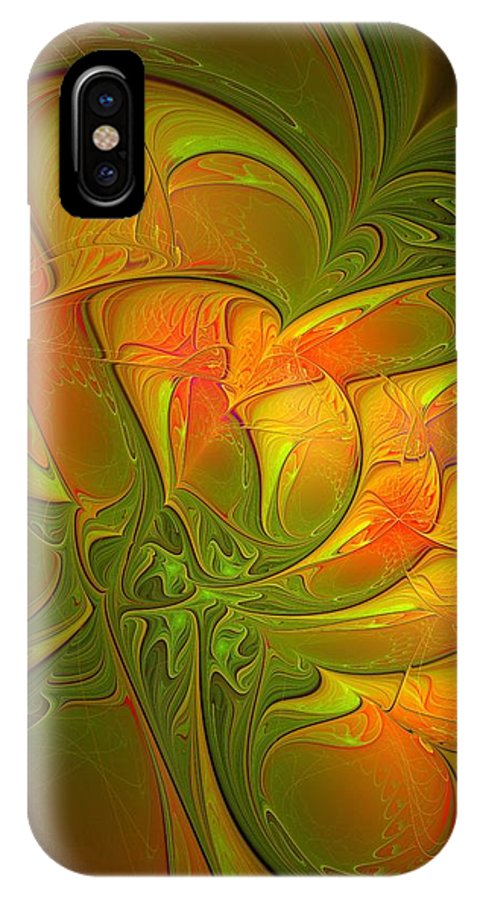 Digital Art IPhone X Case featuring the digital art Fiery Glow by Amanda Moore