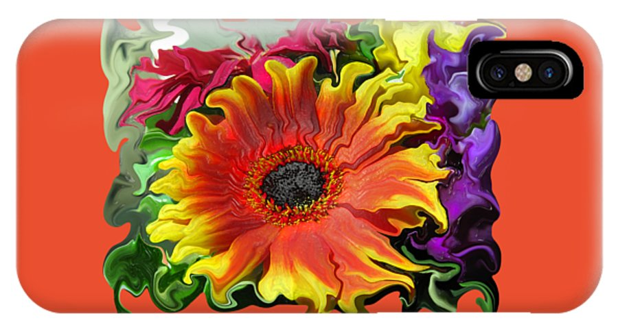Abstract IPhone X Case featuring the photograph Floral Fiesta by Kathy Moll
