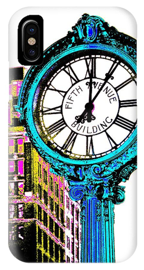 Fifth Avenue Building Clock New York IPhone X Case featuring the photograph Fifth Avenue Building Clock New York by Marianna Mills