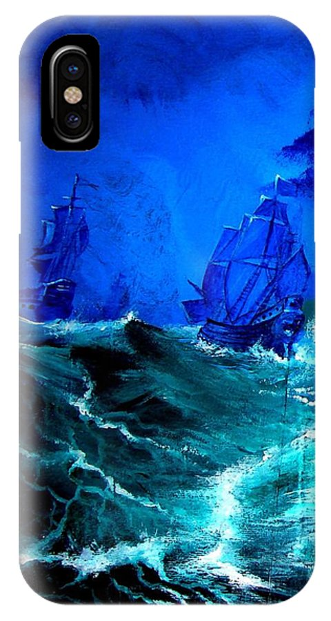 Seascape IPhone X Case featuring the painting Fight For Life by Glory Fraulein Wolfe