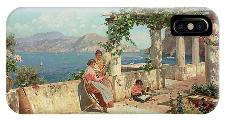 Italian Landscape; Female; Women; Child; Arbour; Azelia; Loggia; Sunshine; Spinning; Sea; Amalfi; Pergola; Treille IPhone X Case featuring the painting Figures On A Terrace In Capri by Robert Alott