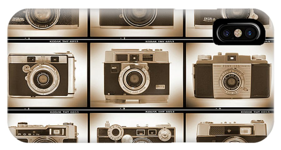 Vintage Cameras IPhone X / XS Case featuring the photograph Film Camera Proofs 2 by Mike McGlothlen
