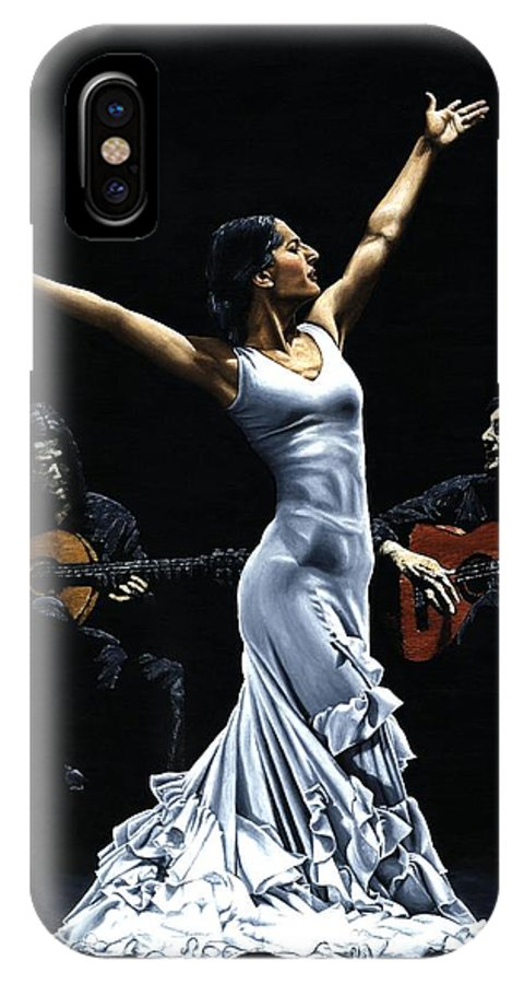 Flamenco IPhone X Case featuring the painting Finale Del Funcionamiento Del Flamenco by Richard Young