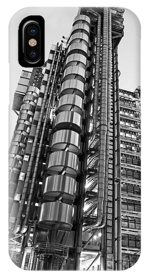 Black And White IPhone X Case featuring the photograph Finance The Lloyds Building In The City by Chris Smith