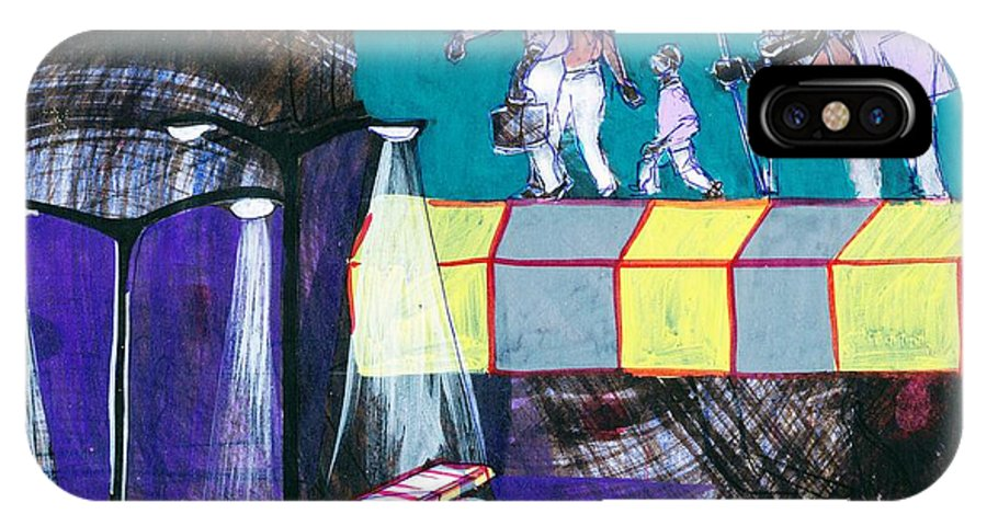 Makarand Joshi IPhone X / XS Case featuring the painting Finding Way Through Darkness by Makarand Joshi