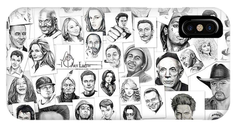 Portrait IPhone X Case featuring the drawing Fine Art America by Murphy Elliott
