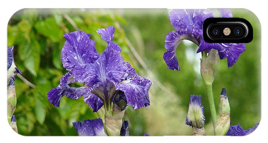 Iris IPhone X Case featuring the photograph Fine Art Floral Prints Purple Iris Flowers Canvas Irises Baslee Troutman by Baslee Troutman
