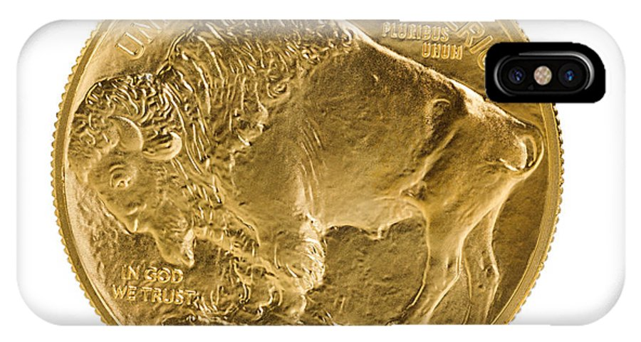 Gold IPhone X Case featuring the photograph Fine Gold Buffalo Gold Coin On White Background by Thomas Baker