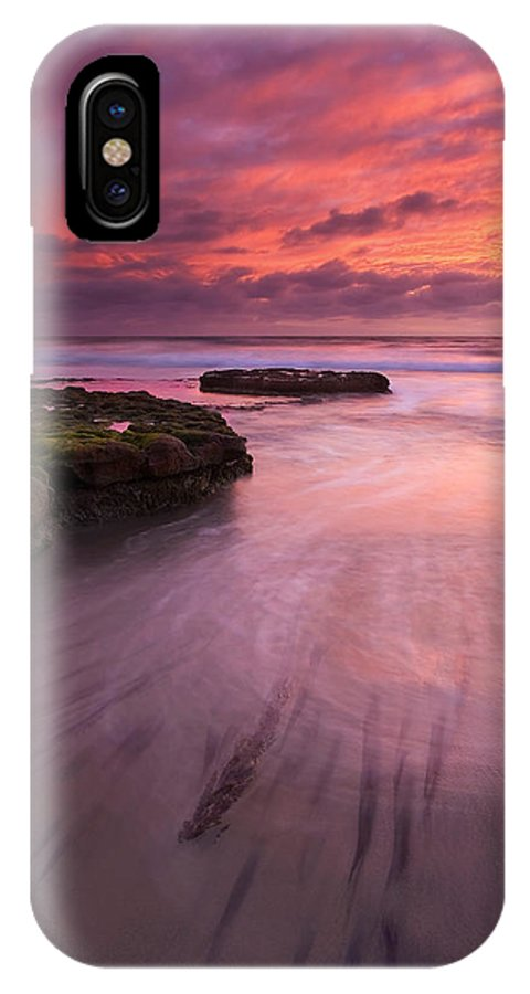 Sunset IPhone X Case featuring the photograph Fingers Of The Tide by Mike Dawson