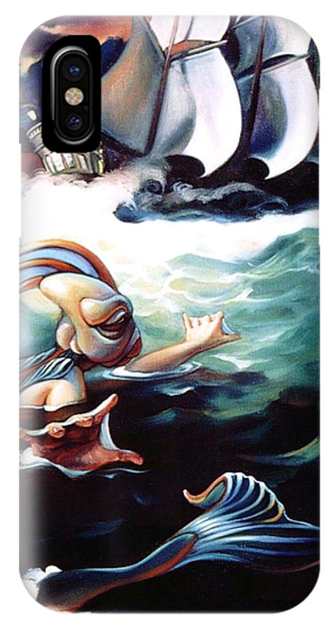 Seafarer IPhone X Case featuring the painting Finnegan's Quest by Patrick Anthony Pierson