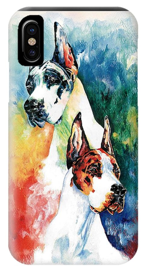 Great Dane IPhone X Case featuring the painting Fire And Ice by Kathleen Sepulveda