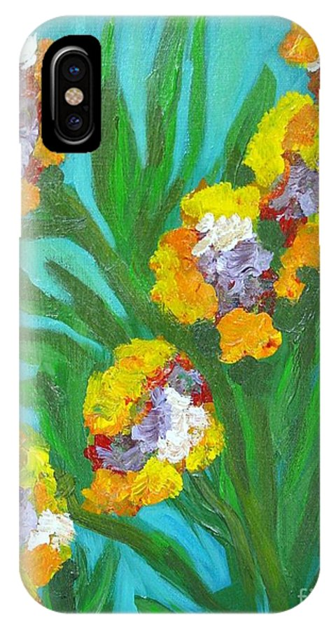 Flower IPhone X Case featuring the painting Fire Blossoms by Laurie Morgan