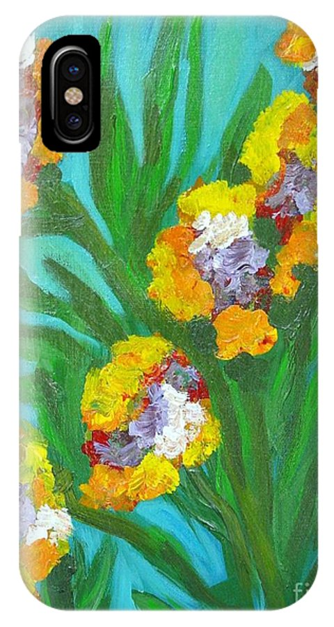Flower IPhone Case featuring the painting Fire Blossoms by Laurie Morgan
