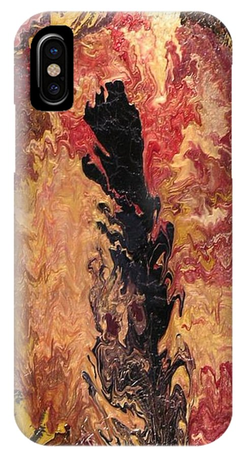 Abstract IPhone X / XS Case featuring the painting Fire - Elemental Spirit by Patrick Mock
