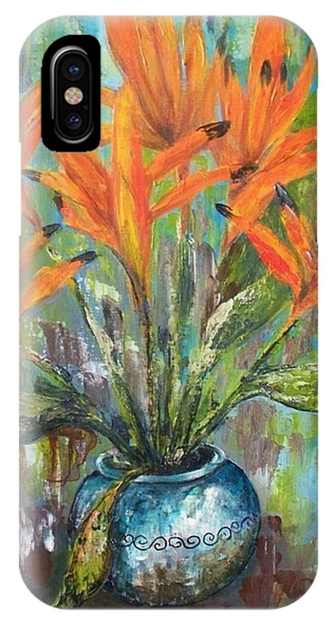 IPhone X Case featuring the painting Fire Flowers by Carol P Kingsley
