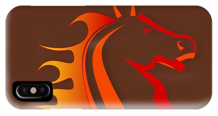 Horse IPhone X Case featuring the digital art Fire Horse by Scott Davis