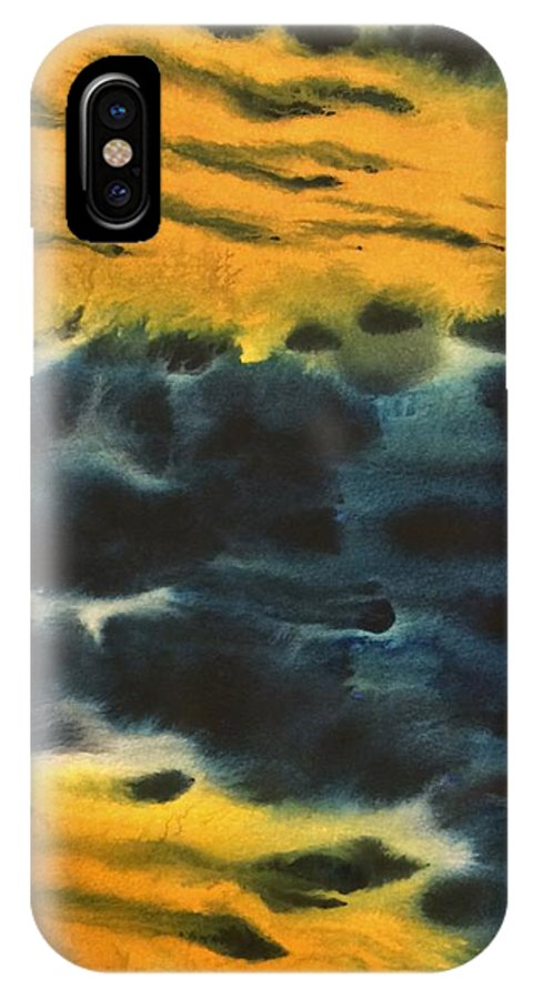 Fire IPhone X Case featuring the painting Fire In Blue by Harmeet Singh
