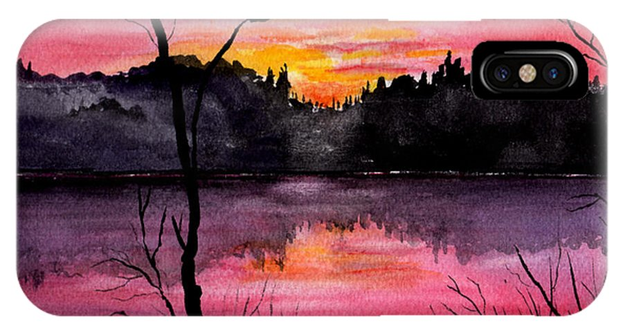 Landscape IPhone X Case featuring the painting Fire In The Sky  Lake Arrowhead Maine by Brenda Owen