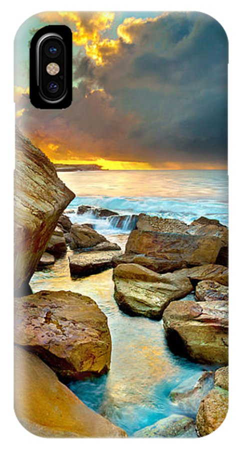 Landscape IPhone X Case featuring the photograph Fire In The Sky by Az Jackson
