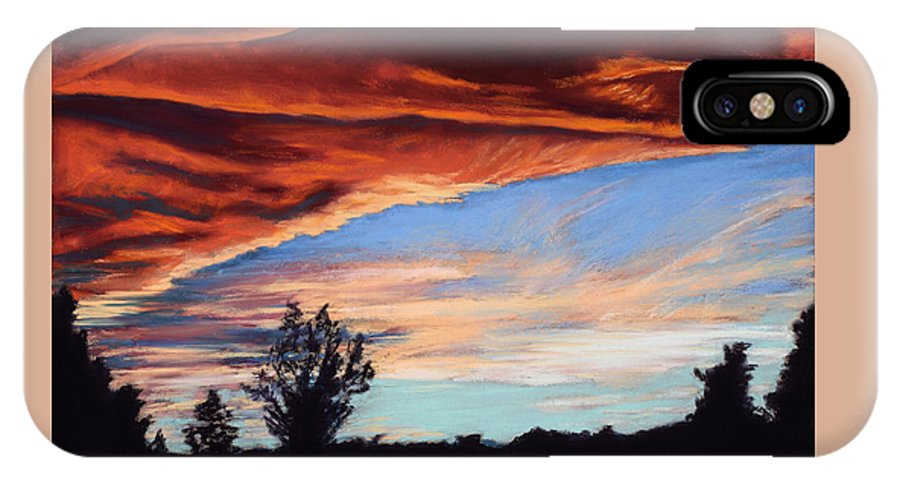 Sunset IPhone X Case featuring the painting Fire In The Sky by Mary Benke