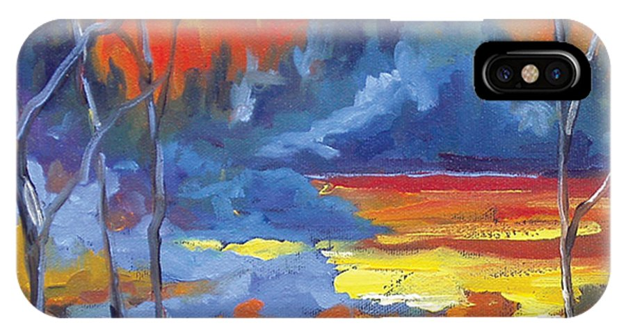 Art IPhone X Case featuring the painting Fire Lake by Richard T Pranke