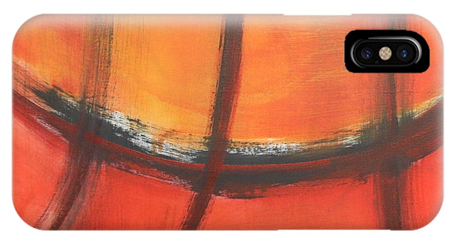 Abstract IPhone X Case featuring the painting Fire Red by Habib Ayat