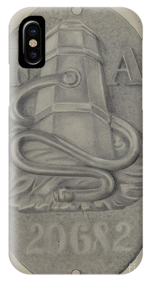 IPhone X Case featuring the drawing Firemark by Grace Halpin