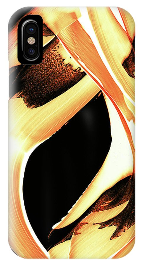 Fire IPhone X Case featuring the painting Firewater 1 - Buy Orange Fire Art Prints by Sharon Cummings