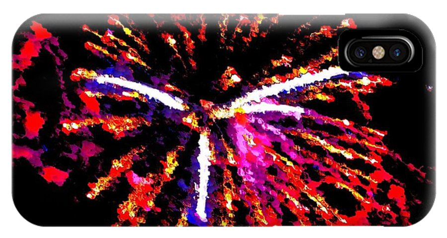 Stylized Fireworks IPhone X / XS Case featuring the photograph Fireworks 102 by Bill Ardern