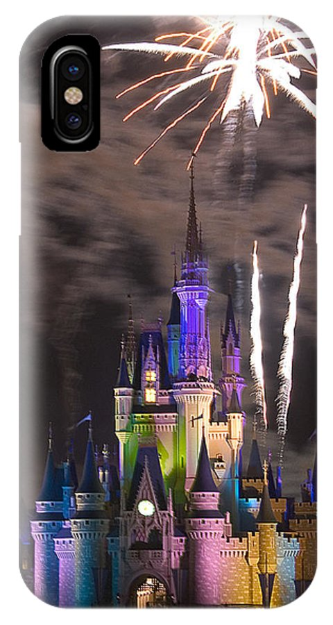 Castle IPhone X Case featuring the photograph Fireworks Over Disney Castle by Carl Purcell