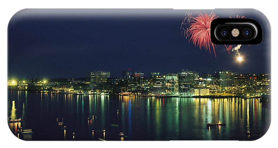 North America IPhone X / XS Case featuring the photograph Fireworks Over Halifax Harbor Celebrate by James P. Blair