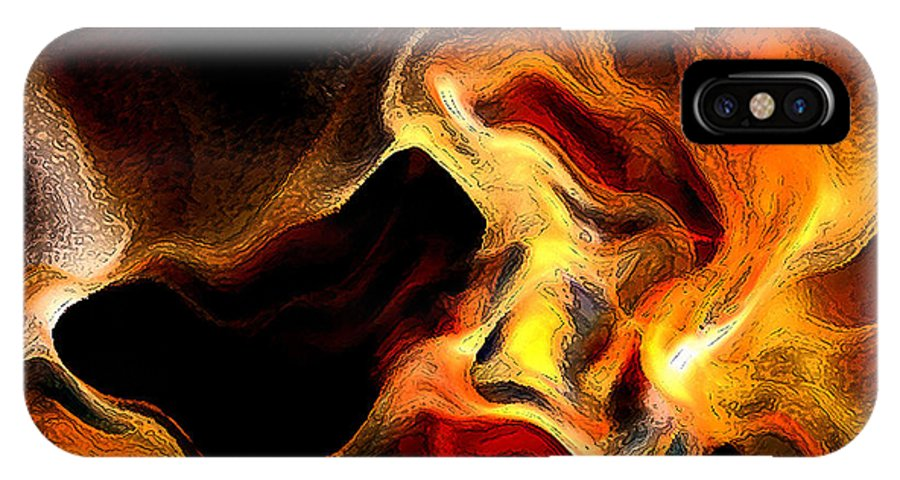 Abstract IPhone X / XS Case featuring the digital art Firey by Ruth Palmer