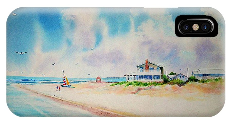 Beach IPhone X Case featuring the painting First Day Of Vacation Is Pricless by Tom Harris