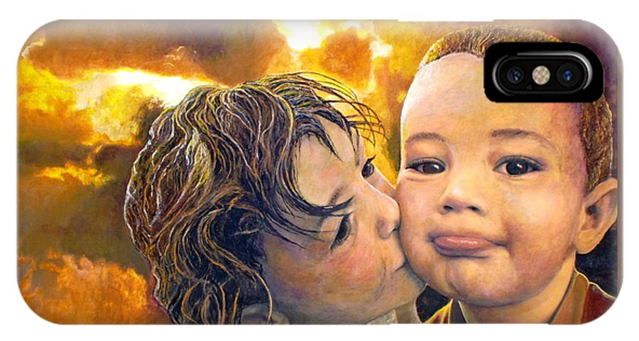 Children IPhone X Case featuring the painting First Kiss by Michael Durst