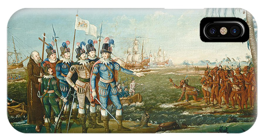 IPhone X Case featuring the painting First Landing Of Christopher Columbus by Frederick Kemmelmeyer