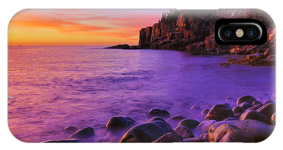 Acadia IPhone X Case featuring the photograph First Light At Boulder Beach by Nancy Dunivin