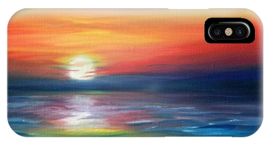 Sunrise IPhone X Case featuring the painting First Light by Lora Duguay