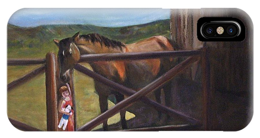 Horse IPhone X Case featuring the painting First Love by Darla Joy Johnson