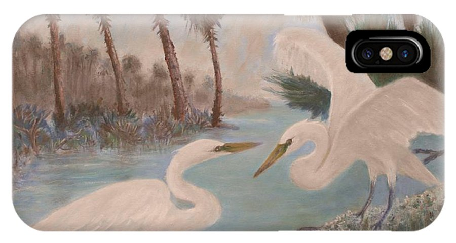 Egret IPhone X Case featuring the painting First Meeting by Ben Kiger