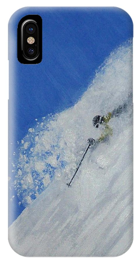 Ski IPhone X Case featuring the painting First by Michael Cuozzo