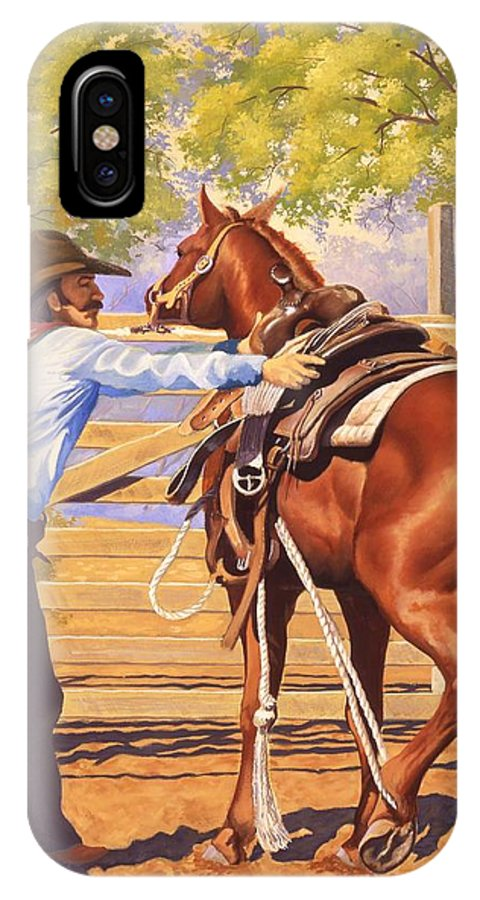 Cowboy IPhone X Case featuring the painting First Saddling by Howard Dubois