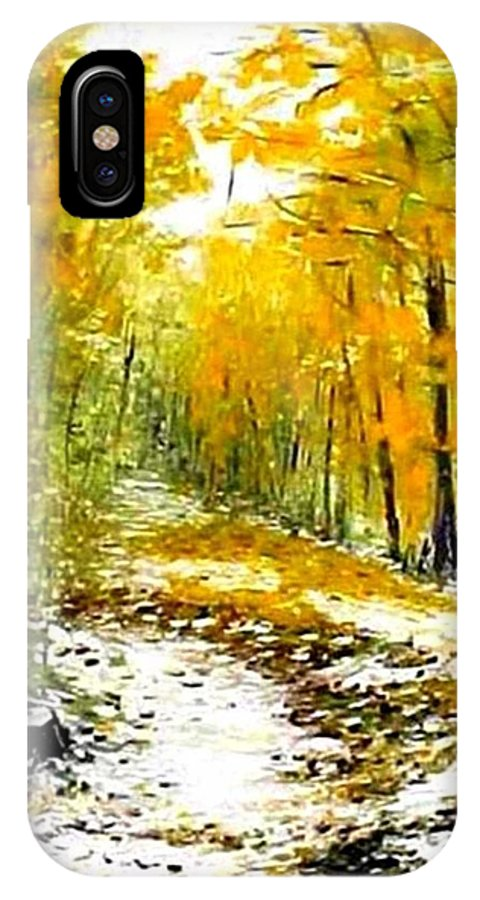 Landscape IPhone X / XS Case featuring the painting First Snow by Boris Garibyan