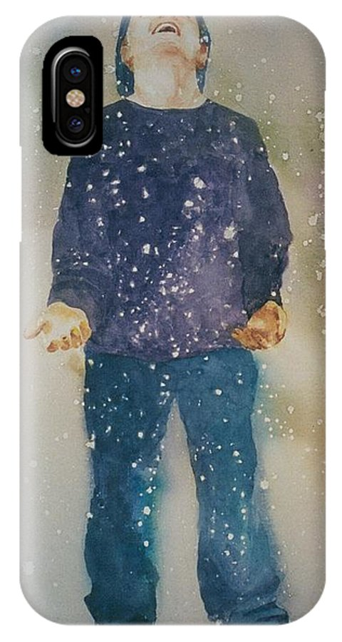 Original Custom Art Watercolor Snow Child Boy IPhone X Case featuring the painting First Snow by Maggie Clark