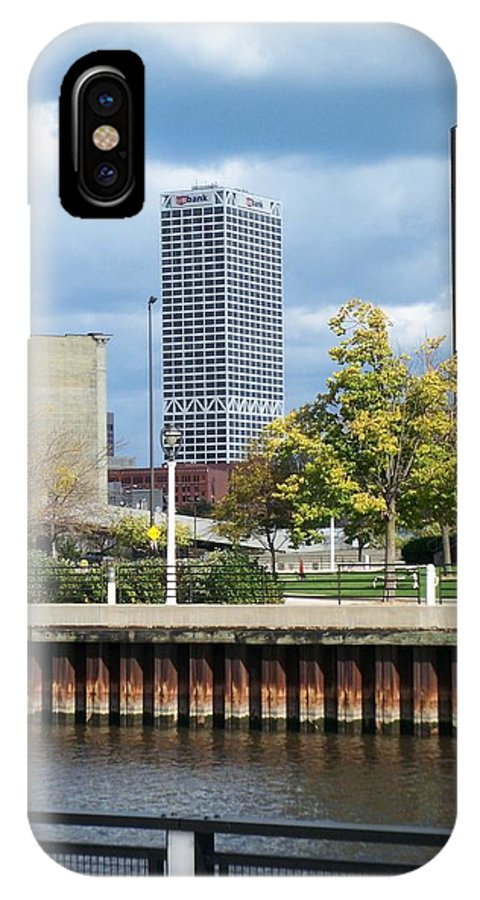 First Star Bank IPhone X Case featuring the photograph First Star Tall View From River by Anita Burgermeister