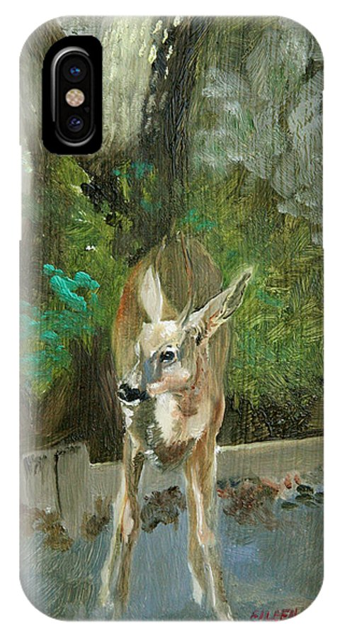 Deer IPhone X Case featuring the painting First Young Buck Pad by Eileen Hale