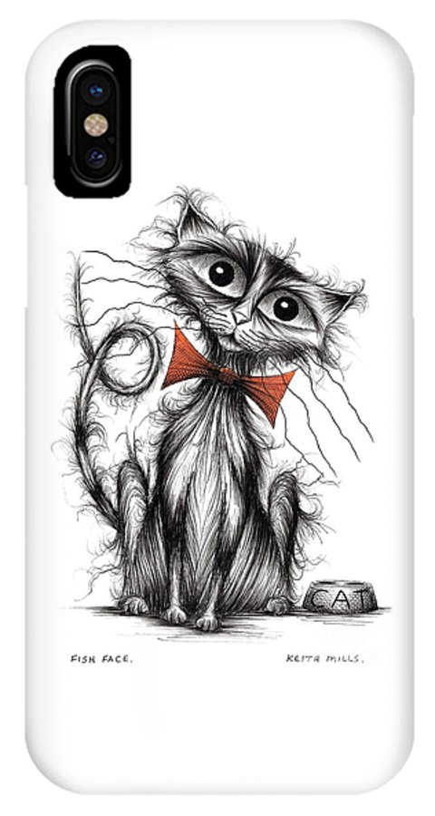 Fish Face IPhone X Case featuring the drawing Fish Face by Keith Mills