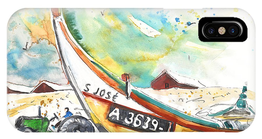 Portugal IPhone Case featuring the painting Fisherboat In Praia De Mira by Miki De Goodaboom