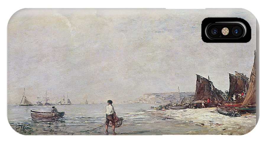 Boudin IPhone X Case featuring the painting Fisherman In Villerville by Eugene Louis Boudin