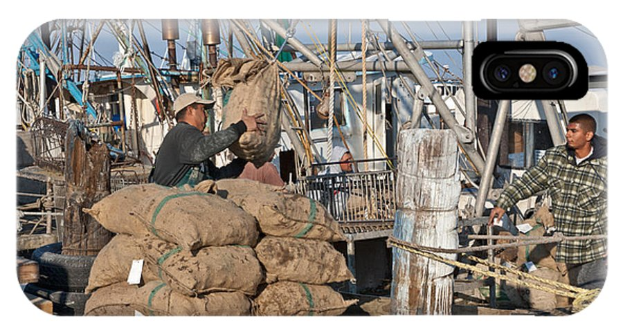 Oysters IPhone X Case featuring the photograph Fisherman Unloading Harvested Oysters by Inga Spence