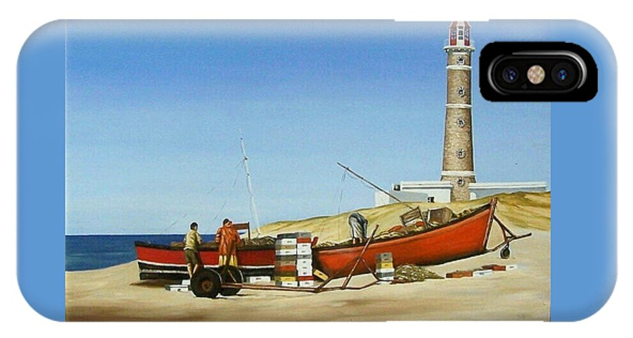 Lighthouse Fishermen Sea Seascape IPhone Case featuring the painting Fishermen By Lighthouse by Natalia Tejera